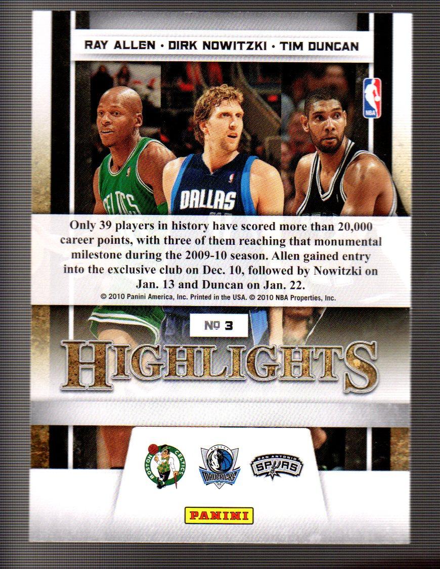 2009-10 Panini Season Update #3 Ray Allen HL/Dirk Nowitzki HL/Tim Duncan HL back image