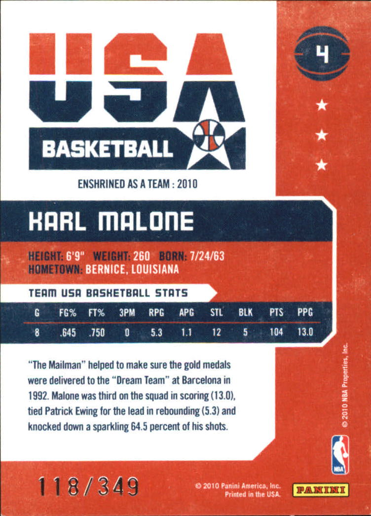 2009-10 Hall of Fame Dream Team #4 Karl Malone back image