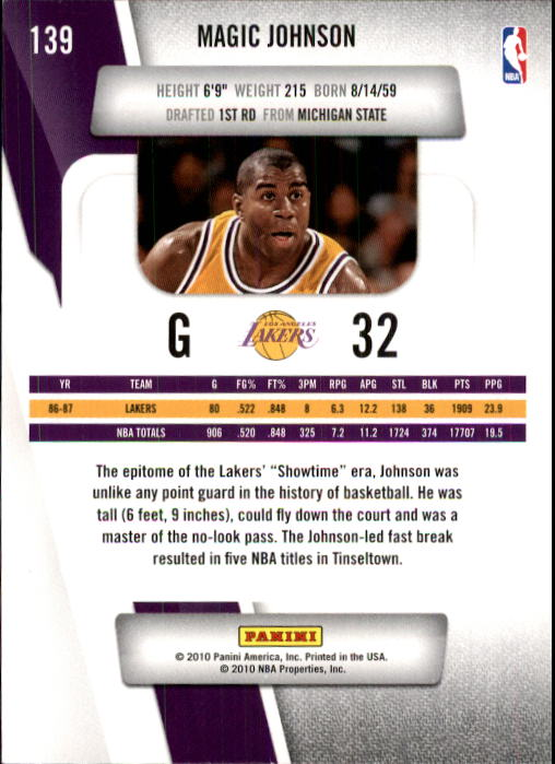 2010-11 Prestige #139 Magic Johnson back image