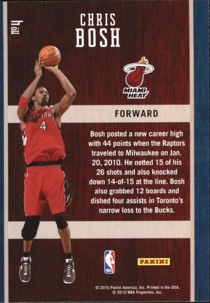 2010-11 Prestige Hardcourt Heroes #4 Chris Bosh back image