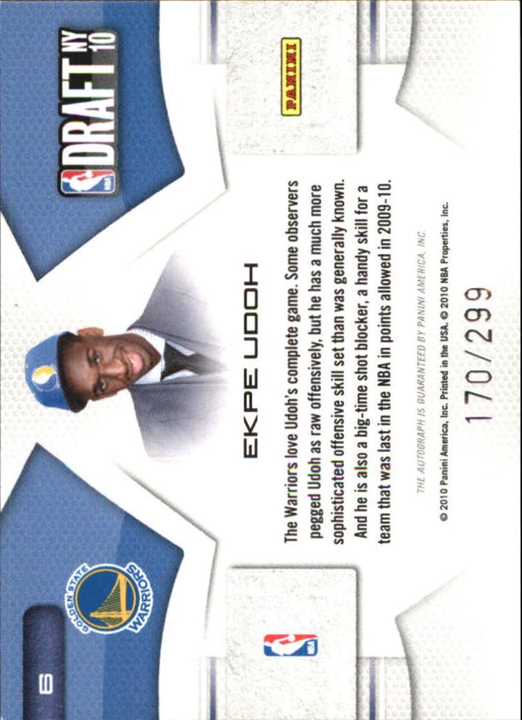 2010-11 Prestige NBA Draft Class Signatures #6 Ekpe Udoh/299 back image