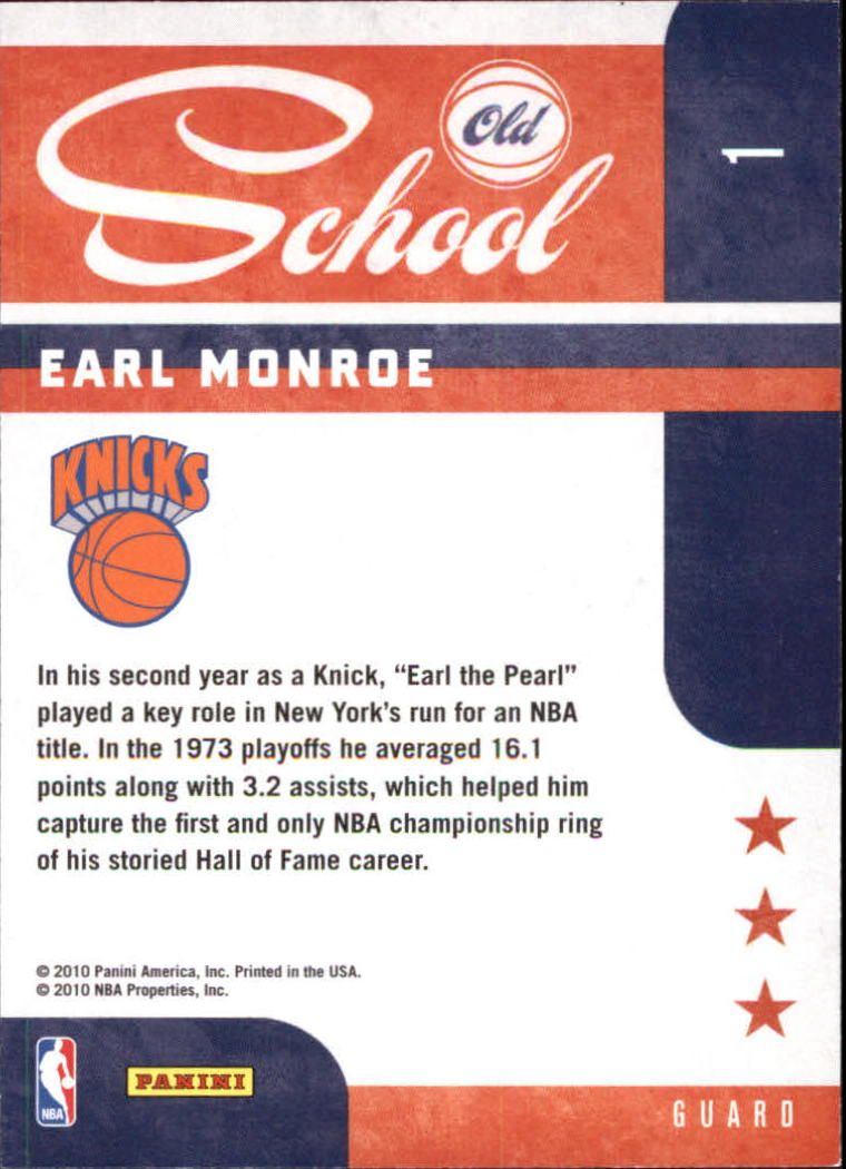 2010-11 Prestige Old School #1 Earl Monroe back image