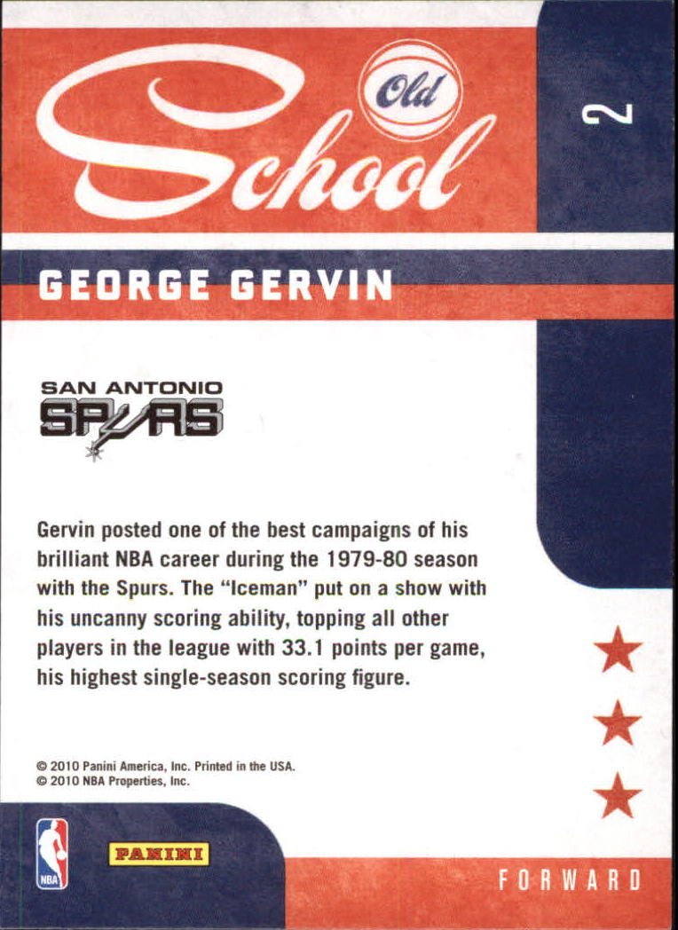 2010-11 Prestige Old School #2 George Gervin back image