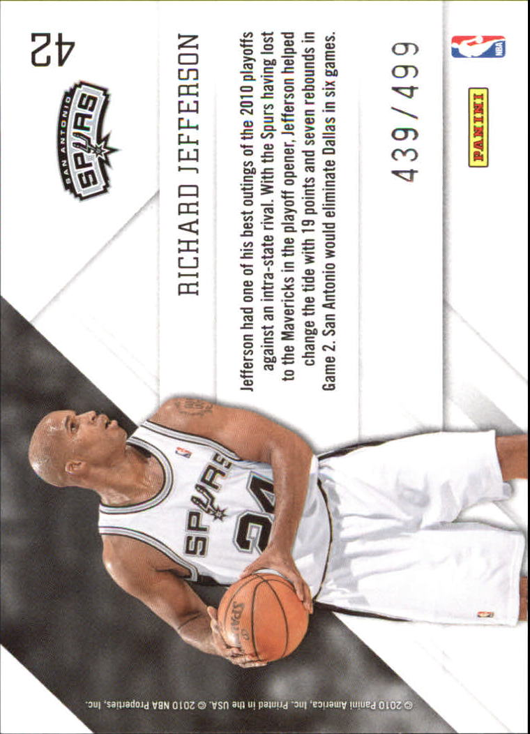 2010-11 Prestige Prestigious Pros Green #42 Richard Jefferson back image