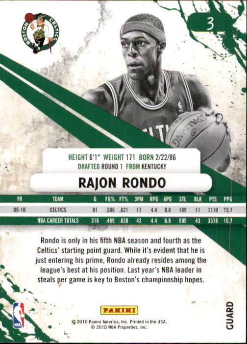 2010-11 Rookies and Stars #3 Rajon Rondo back image
