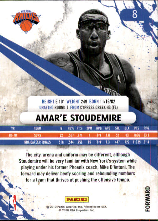 2010-11 Rookies and Stars #8 Amare Stoudemire back image