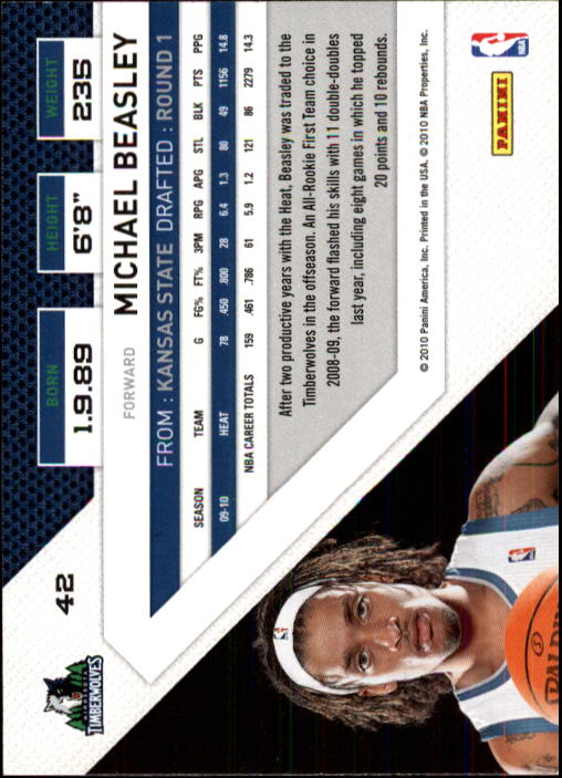 2010-11 Panini Threads #42 Michael Beasley back image