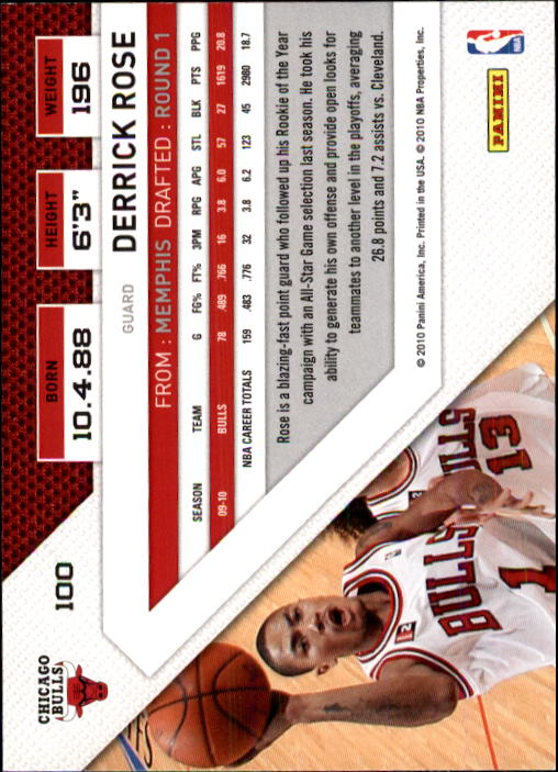 2010-11 Panini Threads #100 Derrick Rose back image