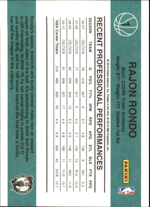 2010-11 Donruss #1 Rajon Rondo back image