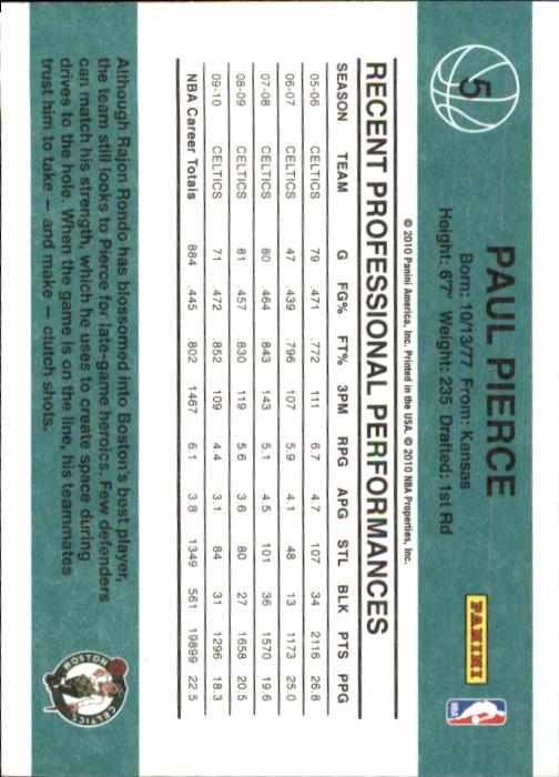 2010-11 Donruss #5 Paul Pierce back image