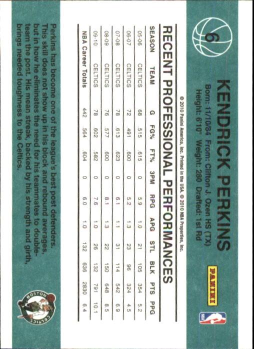 2010-11 Donruss #6 Kendrick Perkins back image