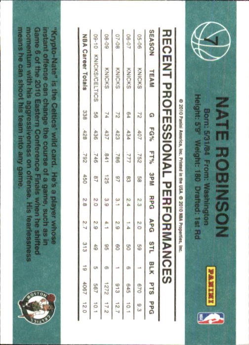 2010-11 Donruss #7 Nate Robinson back image