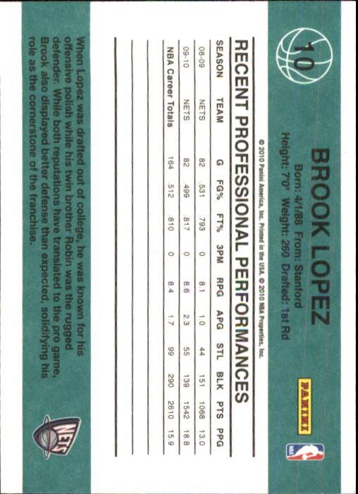 2010-11 Donruss #10 Brook Lopez back image