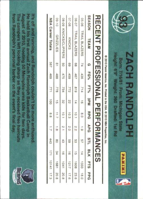 2010-11 Donruss #93 Zach Randolph back image