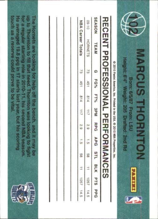 2010-11 Donruss #102 Marcus Thornton back image