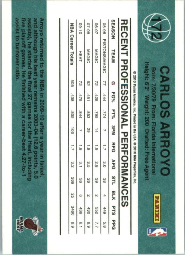 2010-11 Donruss #172 Carlos Arroyo back image