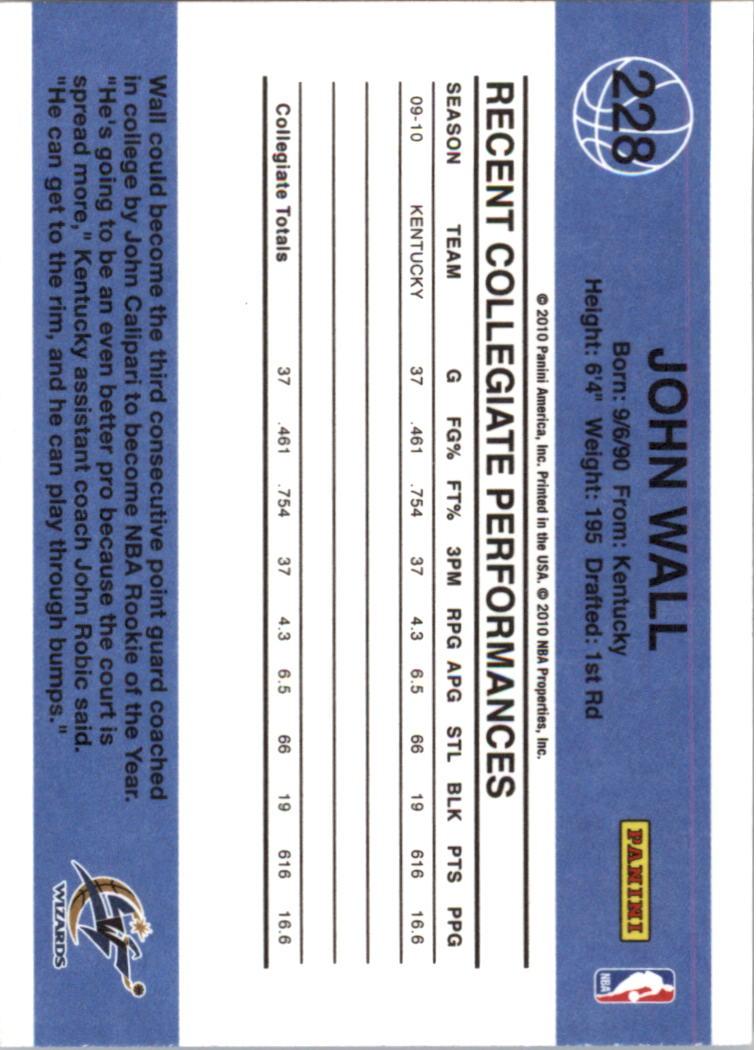 2010-11 Donruss #228 John Wall RC back image