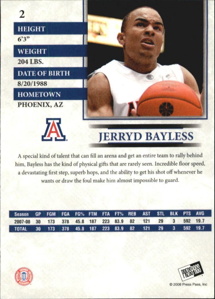 2008 Press Pass Reflectors Blue #2 Jerryd Bayless back image