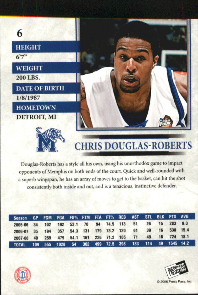 2008 Press Pass Reflectors Blue #6 Chris Douglas-Roberts back image
