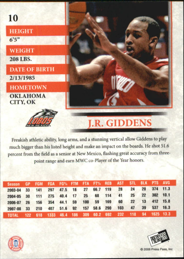 2008 Press Pass Reflectors Blue #10 J.R. Giddens back image