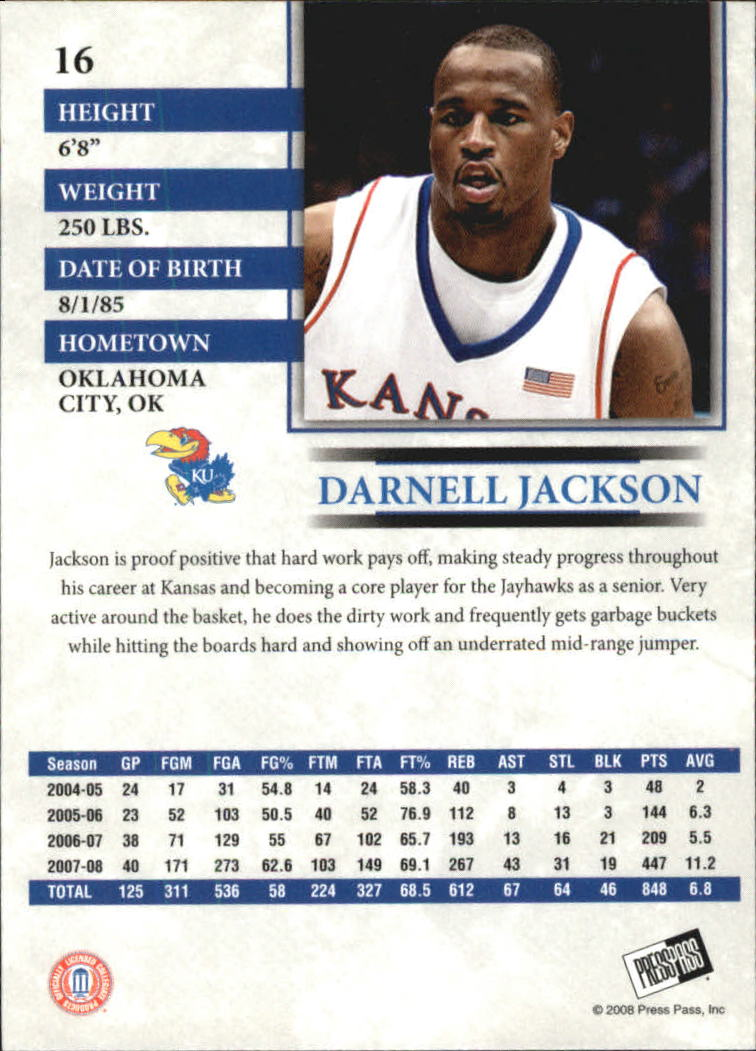 2008 Press Pass Reflectors Blue #16 Darnell Jackson back image