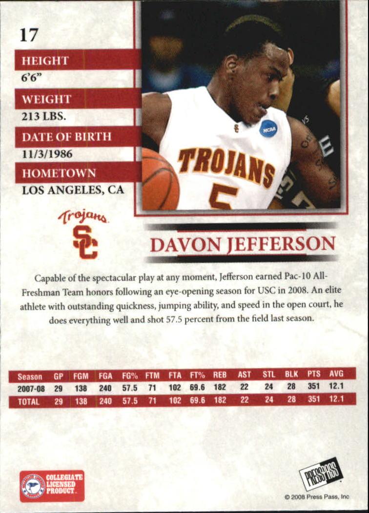 2008 Press Pass Reflectors Blue #17 Davon Jefferson back image