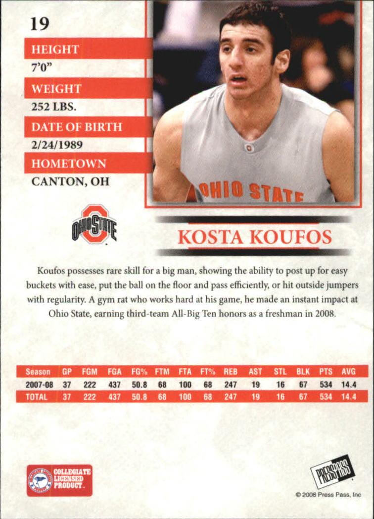 2008 Press Pass Reflectors Blue #19 Kosta Koufos back image