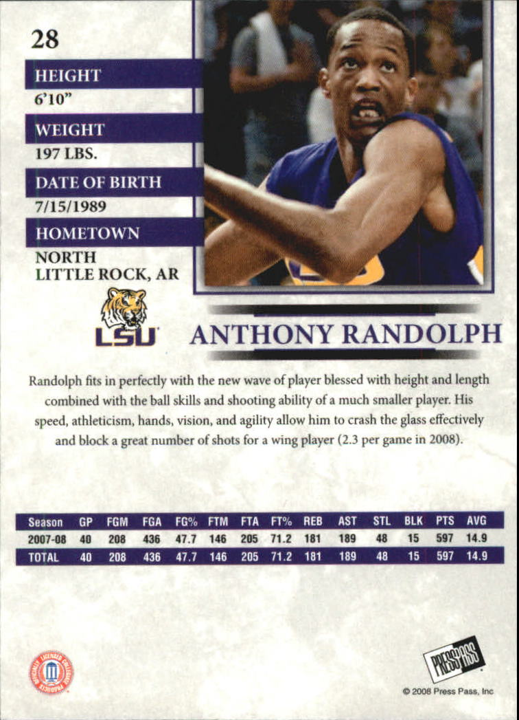 2008 Press Pass Reflectors Blue #28 Anthony Randolph back image