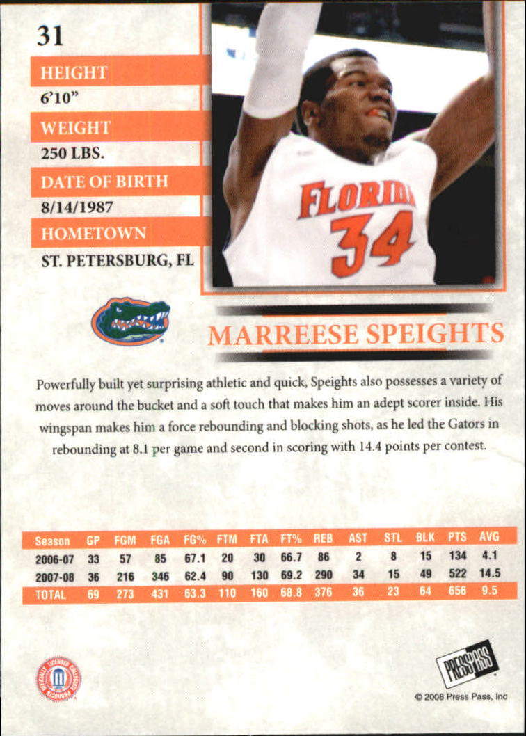 2008 Press Pass Reflectors Blue #31 Marreese Speights back image