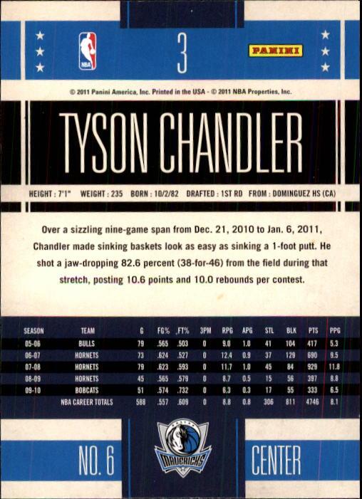 2010-11 Classics #3 Tyson Chandler back image