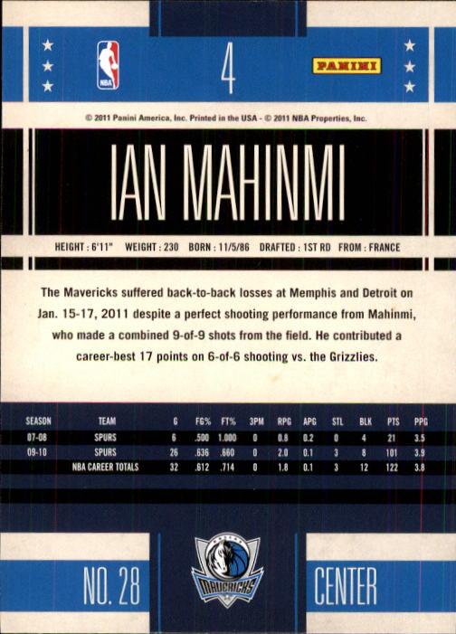 2010-11 Classics #4 Ian Mahinmi RC back image