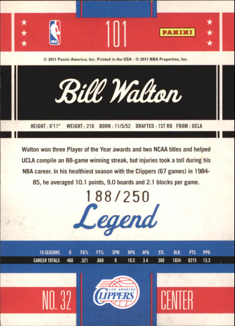 2010-11 Classics Timeless Tributes Silver #101 Bill Walton back image