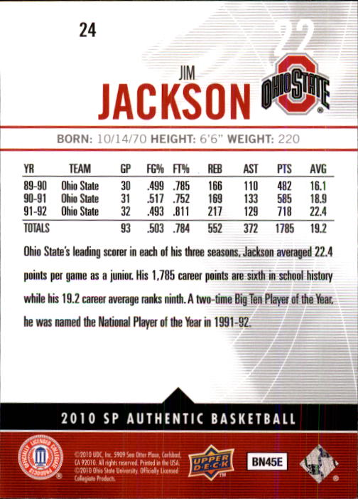 2010-11 SP Authentic #24 Jim Jackson back image