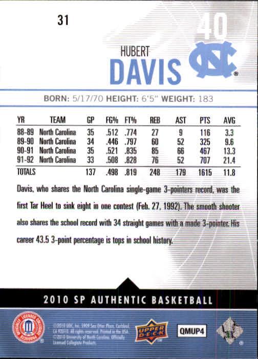 2010-11 SP Authentic #31 Hubert Davis back image