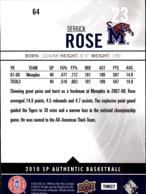 2010-11 SP Authentic #64 Derrick Rose back image