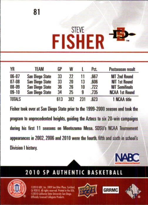 2010-11 SP Authentic #81 Steve Fisher back image