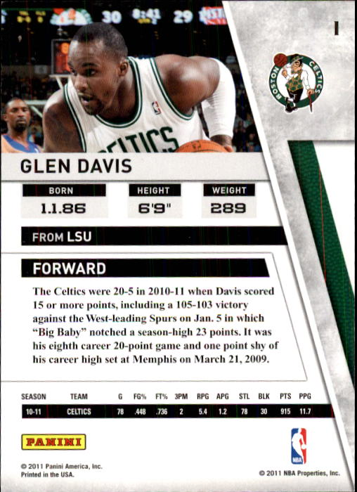 2010-11 Panini Season Update #1 Glen Davis back image