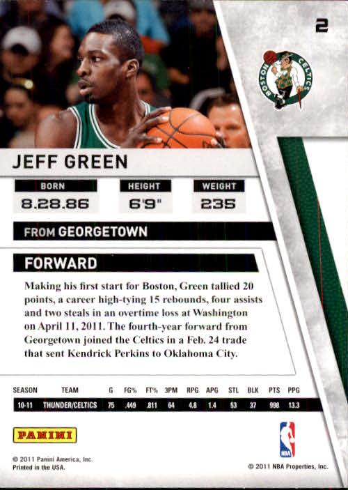 2010-11 Panini Season Update #2 Jeff Green back image