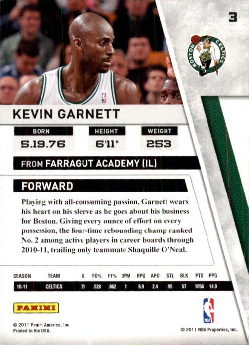 2010-11 Panini Season Update #3 Kevin Garnett back image