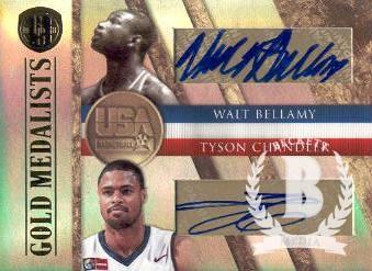 2010-11 Panini Gold Standard Gold Medalists Signatures Dual #5 Walt Bellamy/50/Tyson Chandler