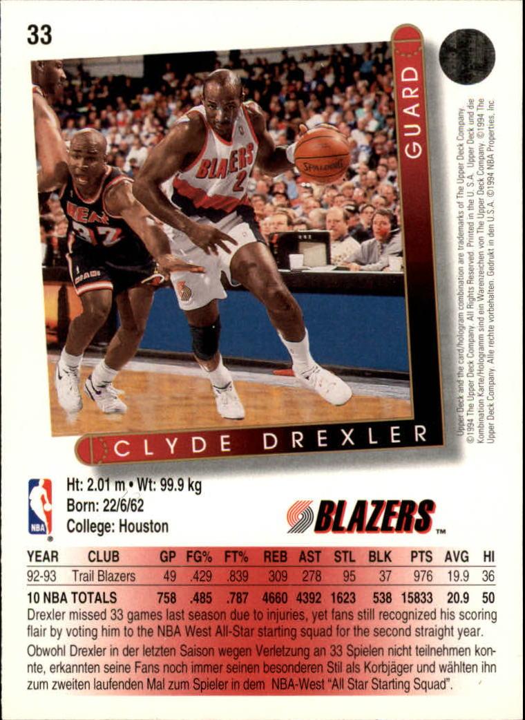 1993-94 Upper Deck International German #33 Clyde Drexler back image