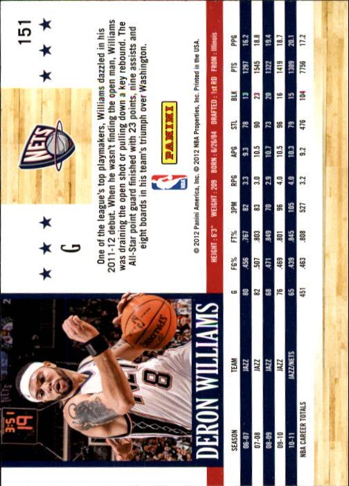 2011-12 Hoops #151 Deron Williams back image