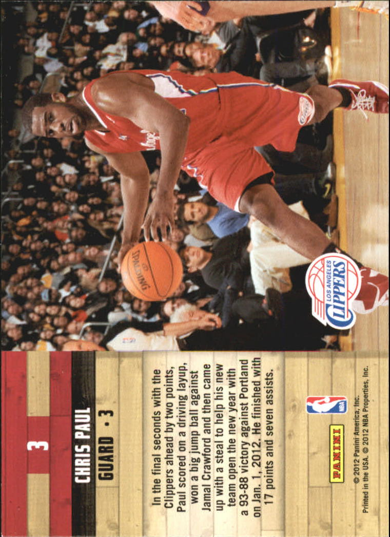 2011-12 Hoops Courtside #3 Chris Paul back image