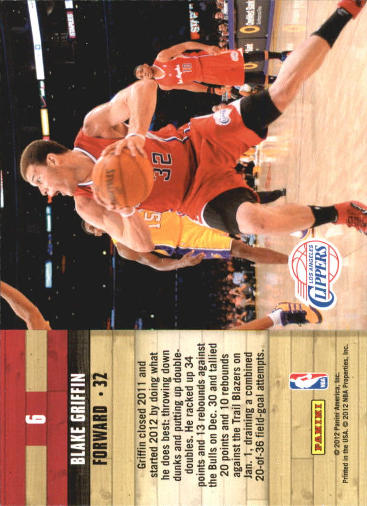 2011-12 Hoops Courtside #6 Blake Griffin back image