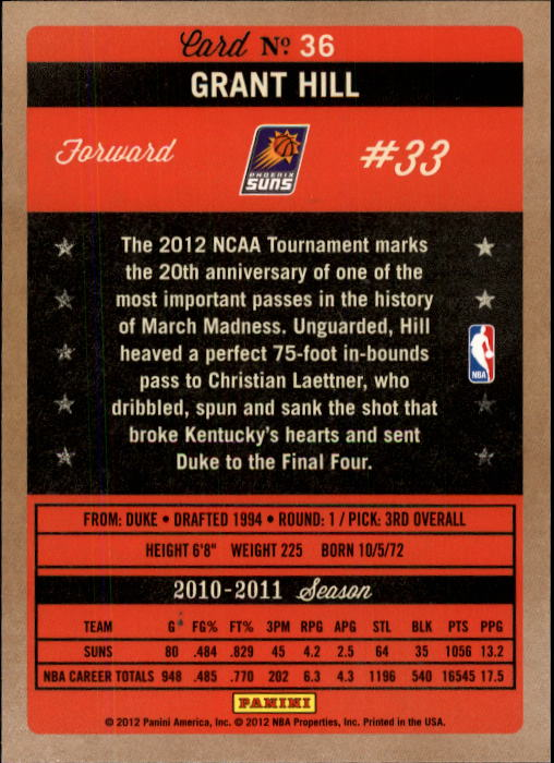 2011-12 Panini Past and Present #36 Grant Hill back image
