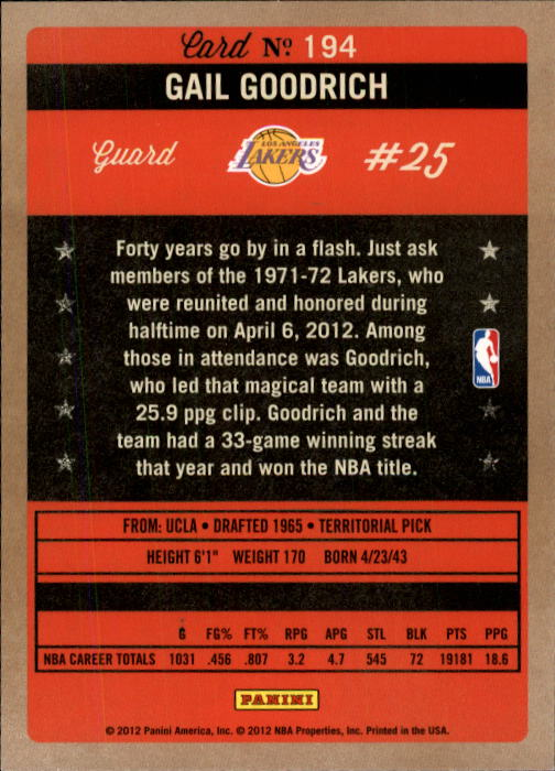 2011-12 Panini Past and Present #194 Gail Goodrich back image