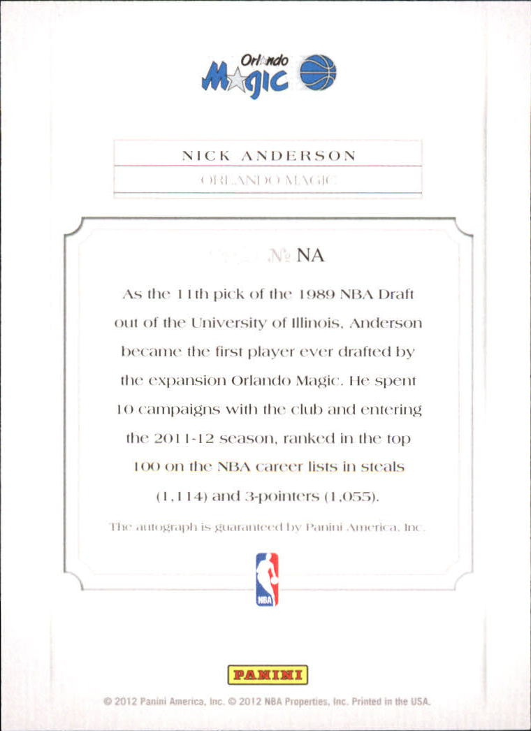 2011-12 Panini Past and Present Elusive Ink Autographs #NA Nick Anderson back image