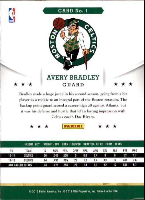 2012-13 Hoops #1 Avery Bradley back image