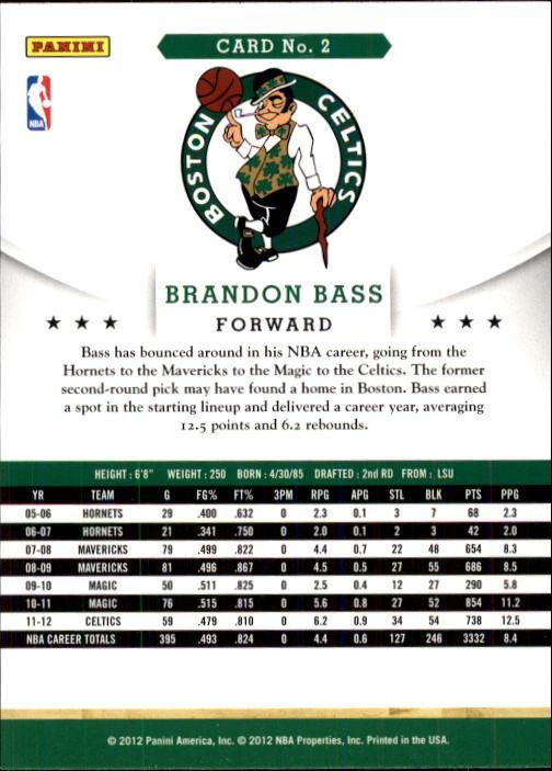 2012-13 Hoops #2 Brandon Bass back image