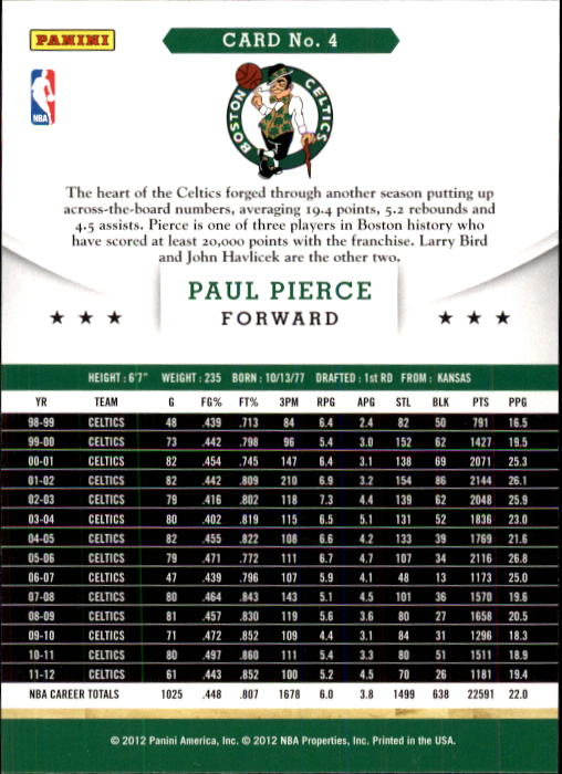 2012-13 Hoops #4 Paul Pierce back image